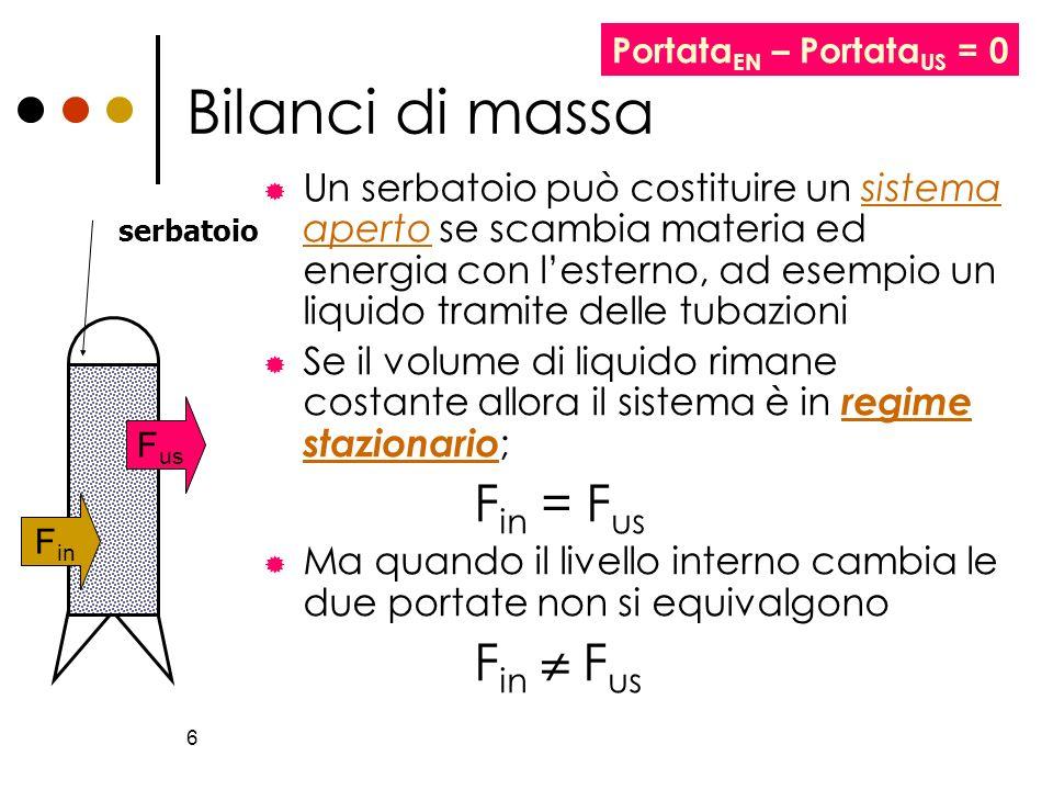 6 Bilanci di massa Un serbatoio può costituire un sistema aperto se scambia materia ed energia con lesterno, ad esempio un liquido tramite delle tubaz