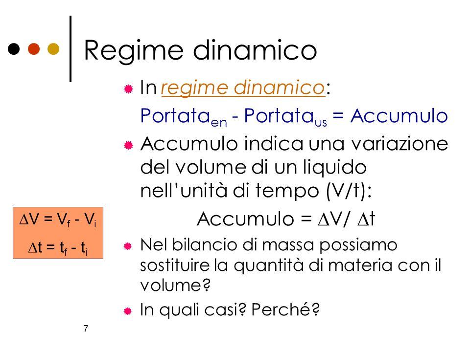 7 Regime dinamico In regime dinamico:regime dinamico Portata en - Portata us = Accumulo Accumulo indica una variazione del volume di un liquido nellun