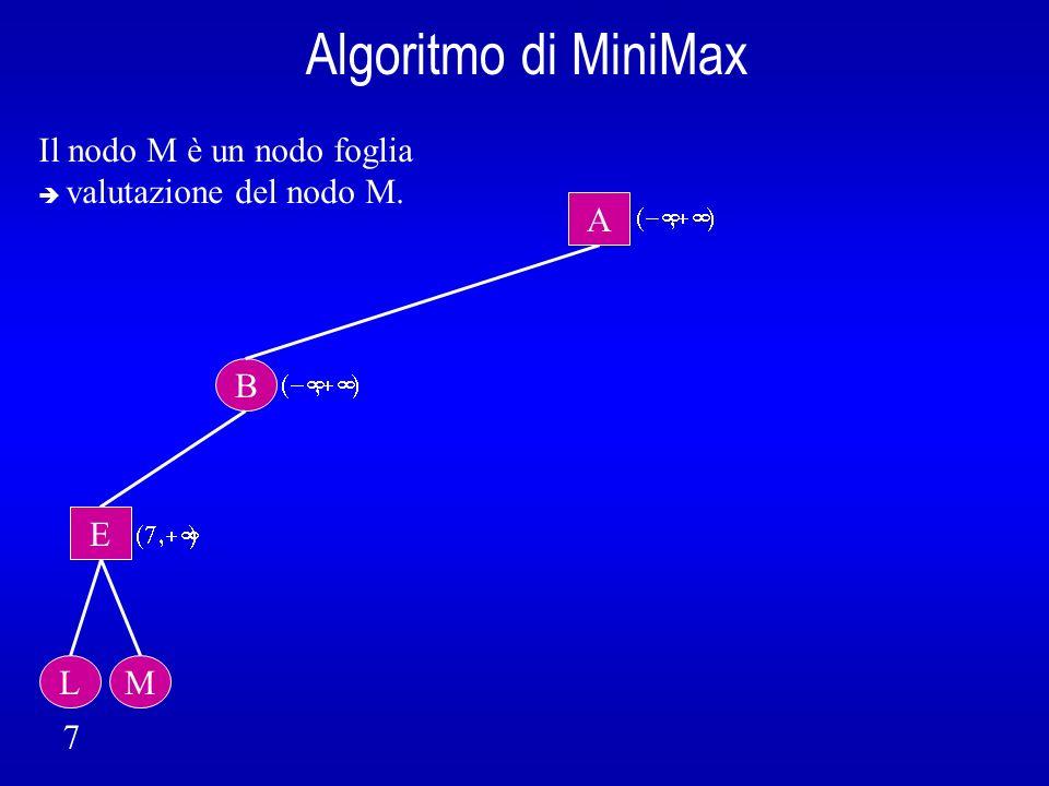 Algoritmo di MiniMax B A E L 7 Il nodo M è un nodo foglia valutazione del nodo M. M