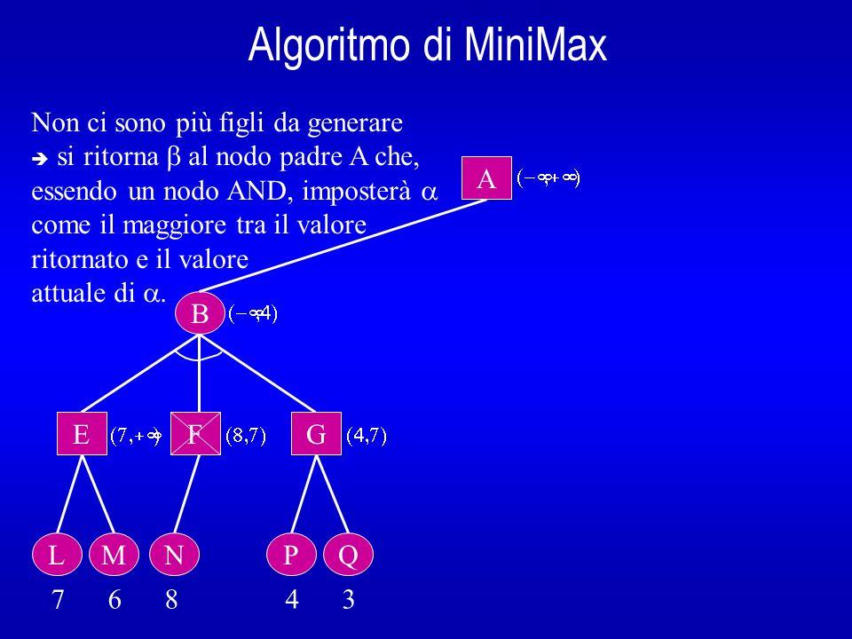 Algoritmo di MiniMax B A E L 7 6 8 4 3 Non ci sono più figli da generare si ritorna al nodo padre A che, essendo un nodo AND, imposterà come il maggio