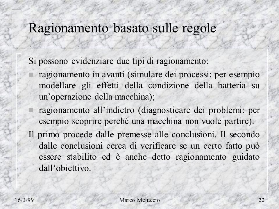 16/3/99Marco Meluccio22 Ragionamento basato sulle regole Si possono evidenziare due tipi di ragionamento: n ragionamento in avanti (simulare dei proce