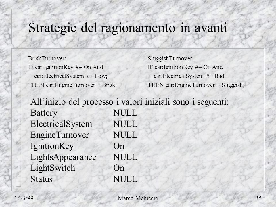 16/3/99Marco Meluccio35 Strategie del ragionamento in avanti BriskTurnover: IF car:IgnitionKey #= On And car:ElectricalSystem #= Low; THEN car:EngineTurnover = Brisk; SluggishTurnover: IF car:IgnitionKey #= On And car:ElectricalSystem #= Bad; THEN car:EngineTurnover = Sluggish; Allinizio del processo i valori iniziali sono i seguenti: BatteryNULL ElectricalSystemNULL EngineTurnoverNULL IgnitionKeyOn LightsAppearanceNULL LightSwitchOn StatusNULL