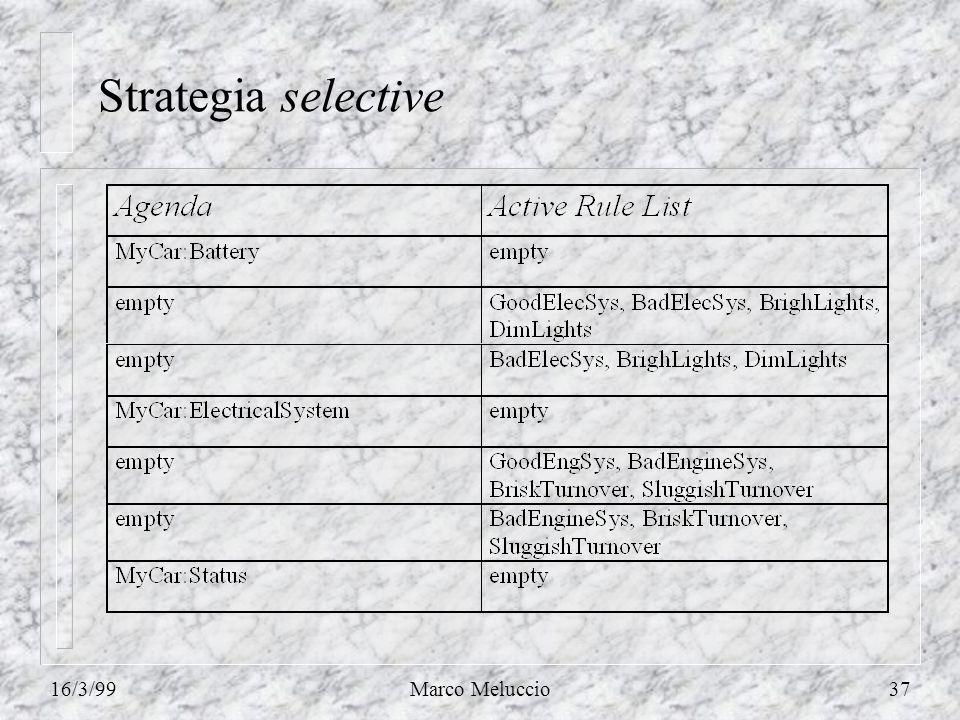 16/3/99Marco Meluccio37 Strategia selective