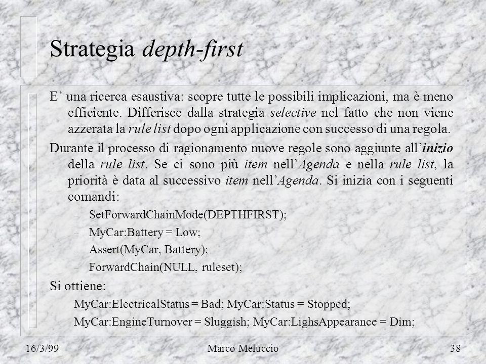 16/3/99Marco Meluccio38 Strategia depth-first E una ricerca esaustiva: scopre tutte le possibili implicazioni, ma è meno efficiente. Differisce dalla