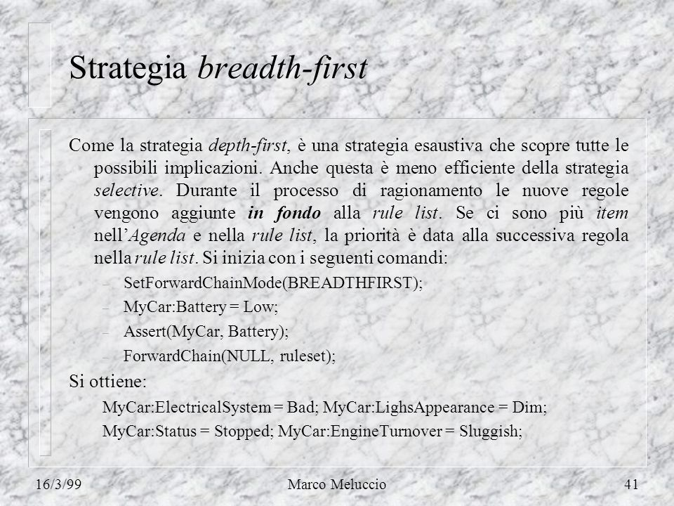 16/3/99Marco Meluccio41 Strategia breadth-first Come la strategia depth-first, è una strategia esaustiva che scopre tutte le possibili implicazioni.