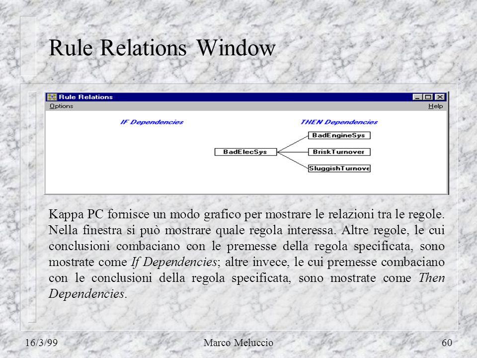 16/3/99Marco Meluccio60 Rule Relations Window Kappa PC fornisce un modo grafico per mostrare le relazioni tra le regole. Nella finestra si può mostrar
