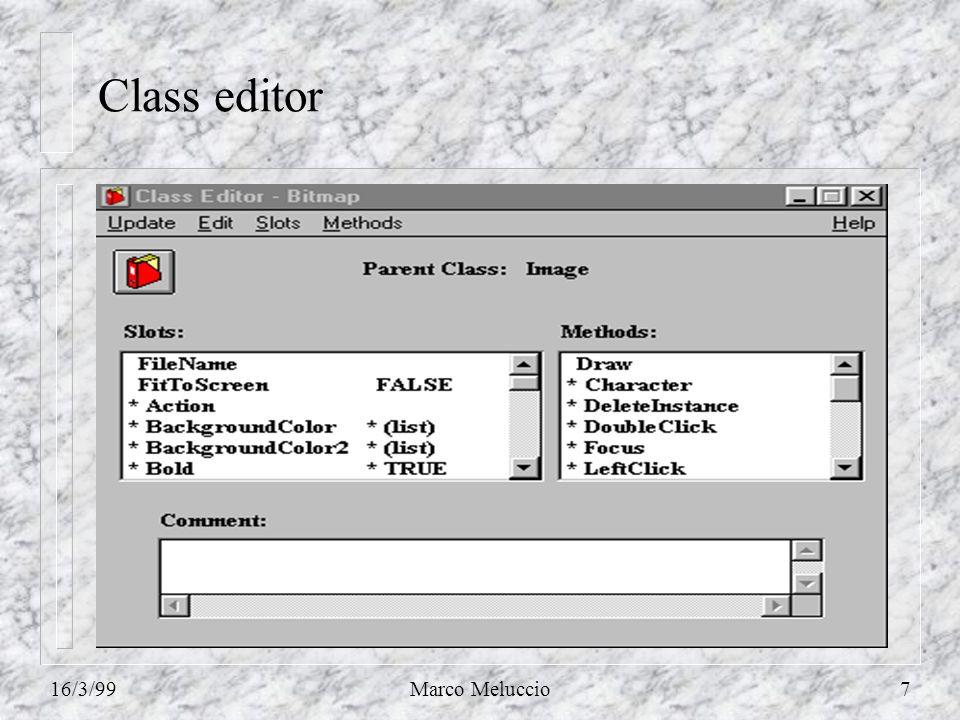 16/3/99Marco Meluccio48 Ragionamento allindietro Si può attivare il processo allindietro da una delle tre finestre del sistema Kappa PC: n linterprete KAL (usando la funzione BackwardChain); n la finestra Rule Trace (usando lopzione BackwardChain nel menu Control); n lInference Browser (usando lopzione Step Mode dal menu Options).