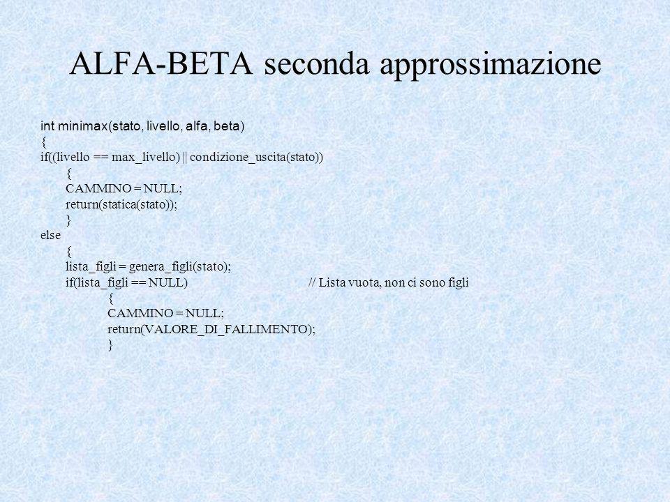 ALFA-BETA seconda approssimazione int minimax(stato, livello, alfa, beta) { if((livello == max_livello) || condizione_uscita(stato)) { CAMMINO = NULL; return(statica(stato)); } else { lista_figli = genera_figli(stato); if(lista_figli == NULL)// Lista vuota, non ci sono figli { CAMMINO = NULL; return(VALORE_DI_FALLIMENTO); }