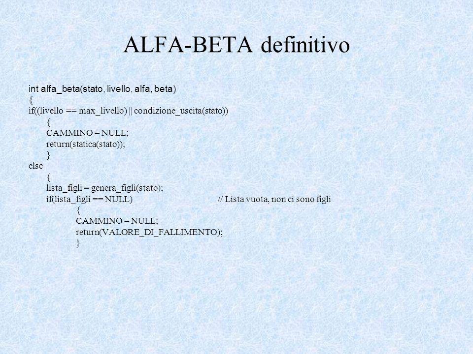 ALFA-BETA definitivo int alfa_beta(stato, livello, alfa, beta) { if((livello == max_livello) || condizione_uscita(stato)) { CAMMINO = NULL; return(statica(stato)); } else { lista_figli = genera_figli(stato); if(lista_figli == NULL)// Lista vuota, non ci sono figli { CAMMINO = NULL; return(VALORE_DI_FALLIMENTO); }
