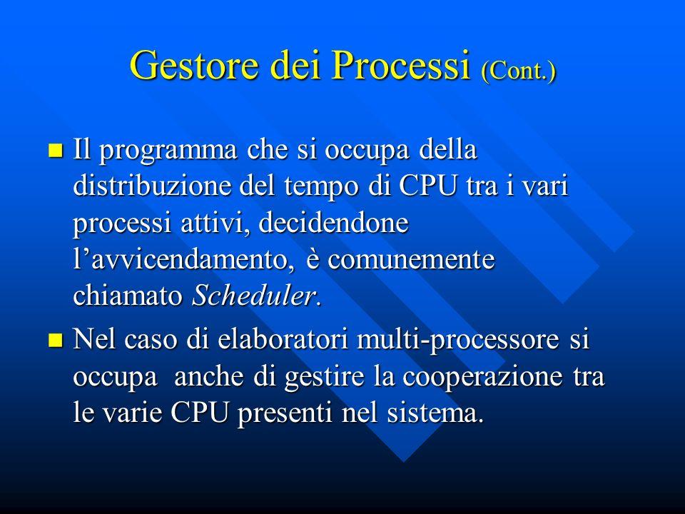 Gestore dei Processi (Cont.) Il programma che si occupa della distribuzione del tempo di CPU tra i vari processi attivi, decidendone lavvicendamento,