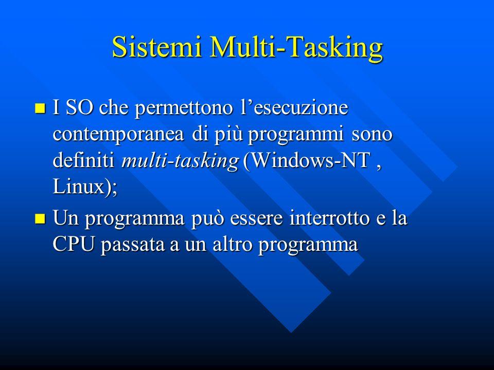 Sistemi Multi-Tasking I SO che permettono lesecuzione contemporanea di più programmi sono definiti multi-tasking (Windows-NT, Linux); I SO che permett