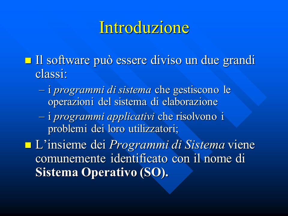 Introduzione Il software può essere diviso un due grandi classi: Il software può essere diviso un due grandi classi: –i programmi di sistema che gesti