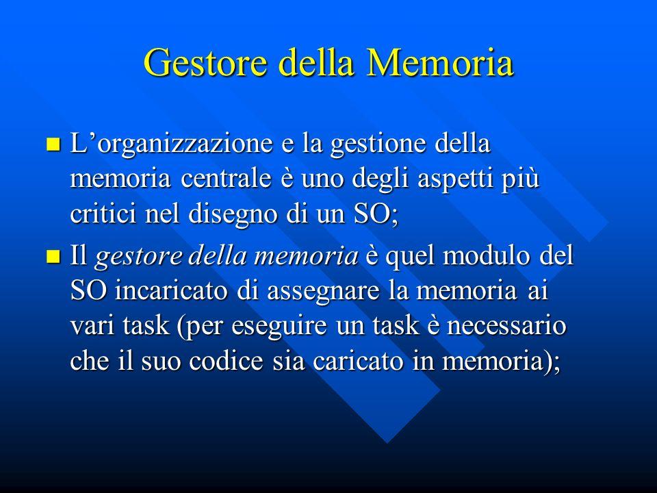 Lorganizzazione e la gestione della memoria centrale è uno degli aspetti più critici nel disegno di un SO; Lorganizzazione e la gestione della memoria