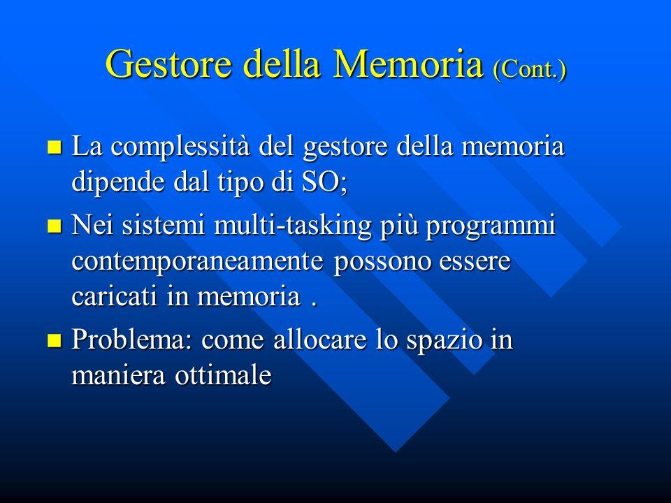 Gestore della Memoria (Cont.) La complessità del gestore della memoria dipende dal tipo di SO; La complessità del gestore della memoria dipende dal ti
