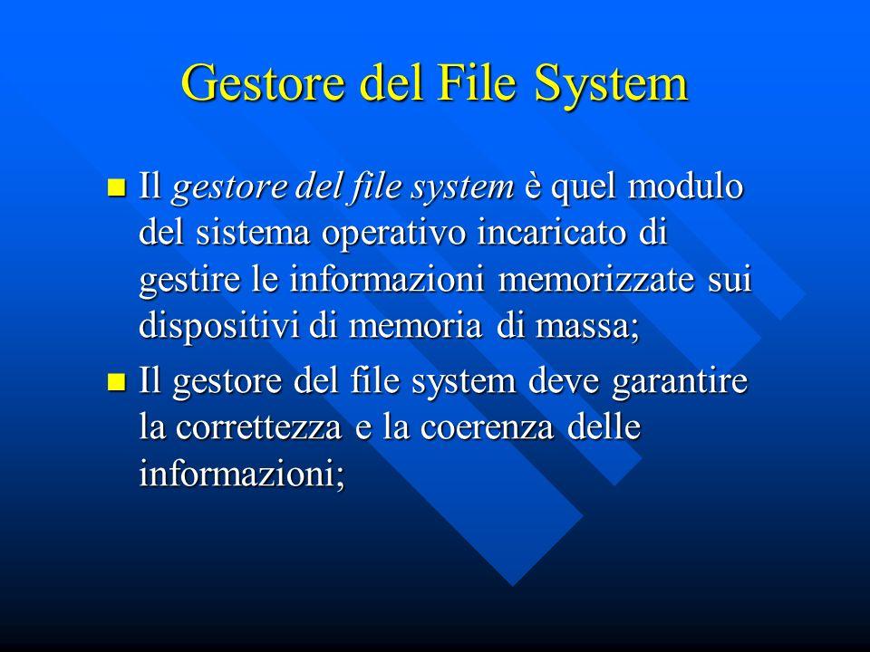 Il gestore del file system è quel modulo del sistema operativo incaricato di gestire le informazioni memorizzate sui dispositivi di memoria di massa;