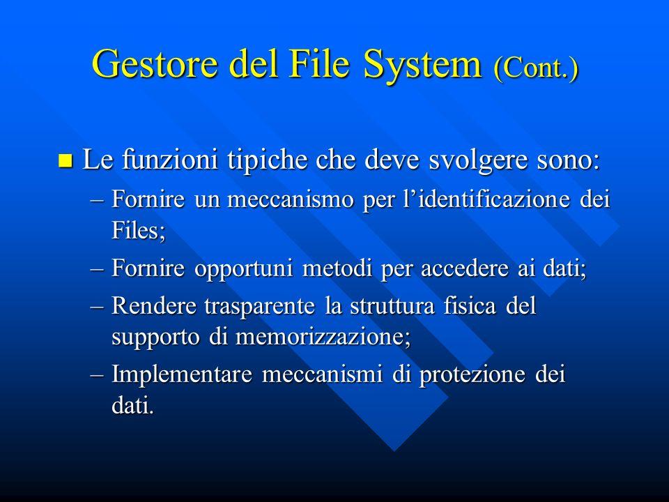 Gestore del File System (Cont.) Le funzioni tipiche che deve svolgere sono: Le funzioni tipiche che deve svolgere sono: –Fornire un meccanismo per lid