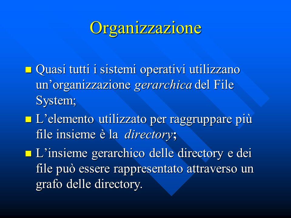 Organizzazione Quasi tutti i sistemi operativi utilizzano unorganizzazione gerarchica del File System; Quasi tutti i sistemi operativi utilizzano unor