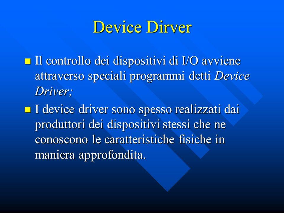 Device Dirver Il controllo dei dispositivi di I/O avviene attraverso speciali programmi detti Device Driver; Il controllo dei dispositivi di I/O avvie