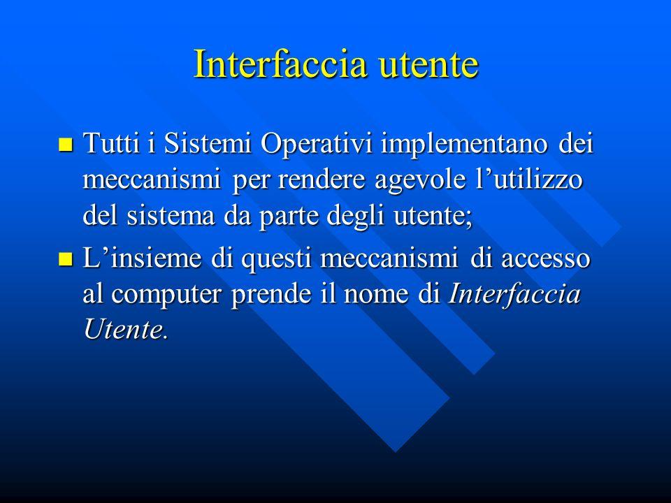 Interfaccia utente Tutti i Sistemi Operativi implementano dei meccanismi per rendere agevole lutilizzo del sistema da parte degli utente; Tutti i Sist