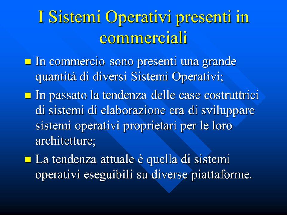 I Sistemi Operativi presenti in commerciali In commercio sono presenti una grande quantità di diversi Sistemi Operativi; In commercio sono presenti un