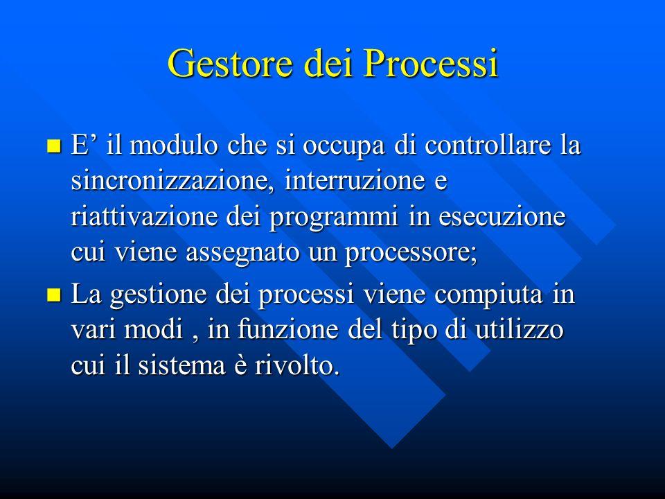 E il modulo che si occupa di controllare la sincronizzazione, interruzione e riattivazione dei programmi in esecuzione cui viene assegnato un processo
