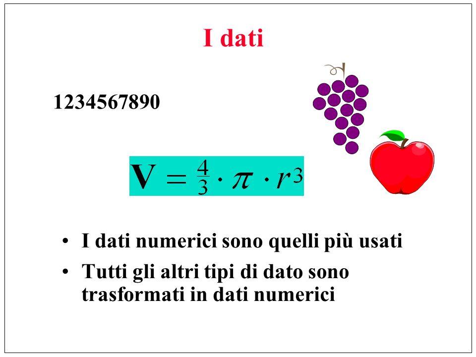 I dati I dati numerici sono quelli più usati Tutti gli altri tipi di dato sono trasformati in dati numerici 1234567890