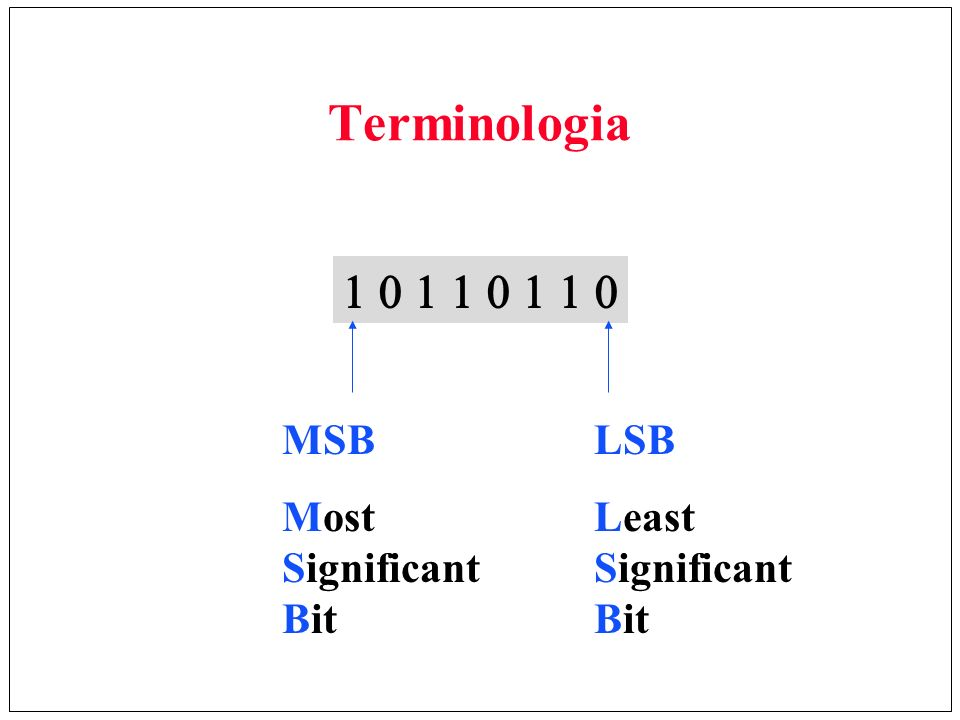 LSB Least Significant Bit MSB Most Significant Bit