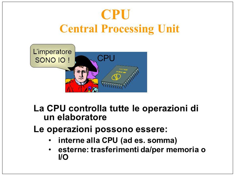 CPU Central Processing Unit La CPU controlla tutte le operazioni di un elaboratore Le operazioni possono essere: interne alla CPU (ad es. somma) ester