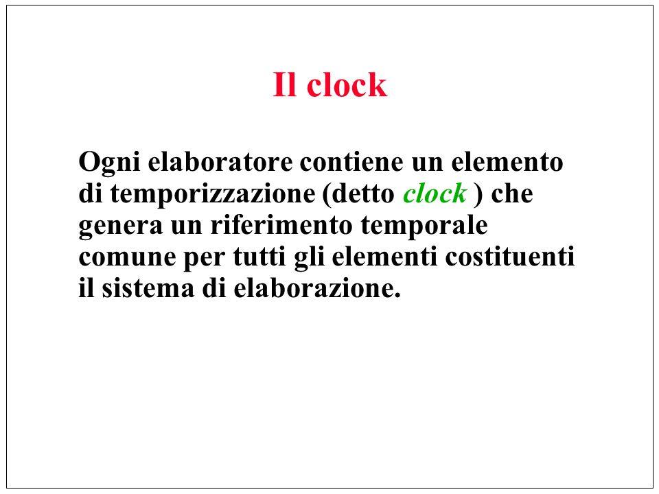Il clock Ogni elaboratore contiene un elemento di temporizzazione (detto clock ) che genera un riferimento temporale comune per tutti gli elementi cos