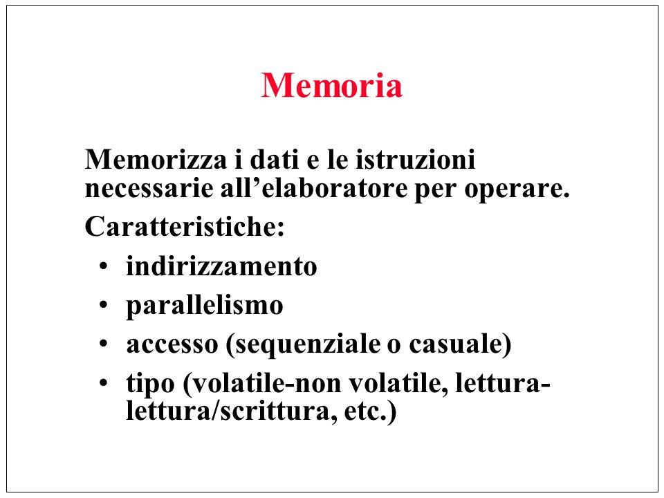 Memoria Memorizza i dati e le istruzioni necessarie allelaboratore per operare. Caratteristiche: indirizzamento parallelismo accesso (sequenziale o ca
