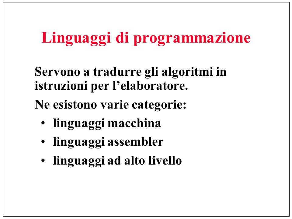 Linguaggi di programmazione Servono a tradurre gli algoritmi in istruzioni per lelaboratore. Ne esistono varie categorie: linguaggi macchina linguaggi