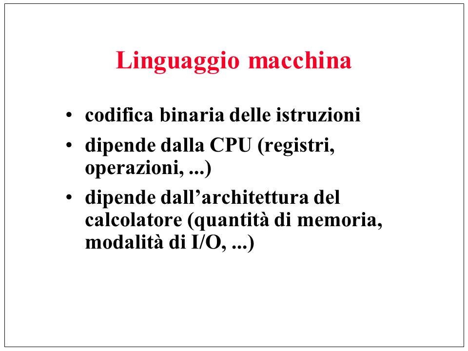Linguaggio macchina codifica binaria delle istruzioni dipende dalla CPU (registri, operazioni,...) dipende dallarchitettura del calcolatore (quantità