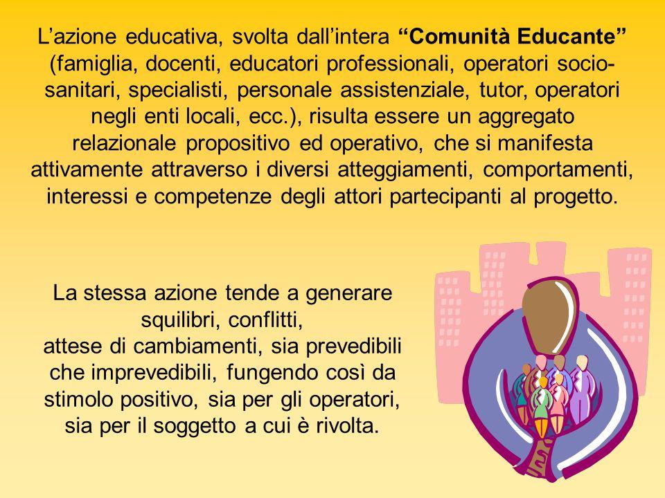 Lazione educativa, svolta dallintera Comunità Educante (famiglia, docenti, educatori professionali, operatori socio- sanitari, specialisti, personale