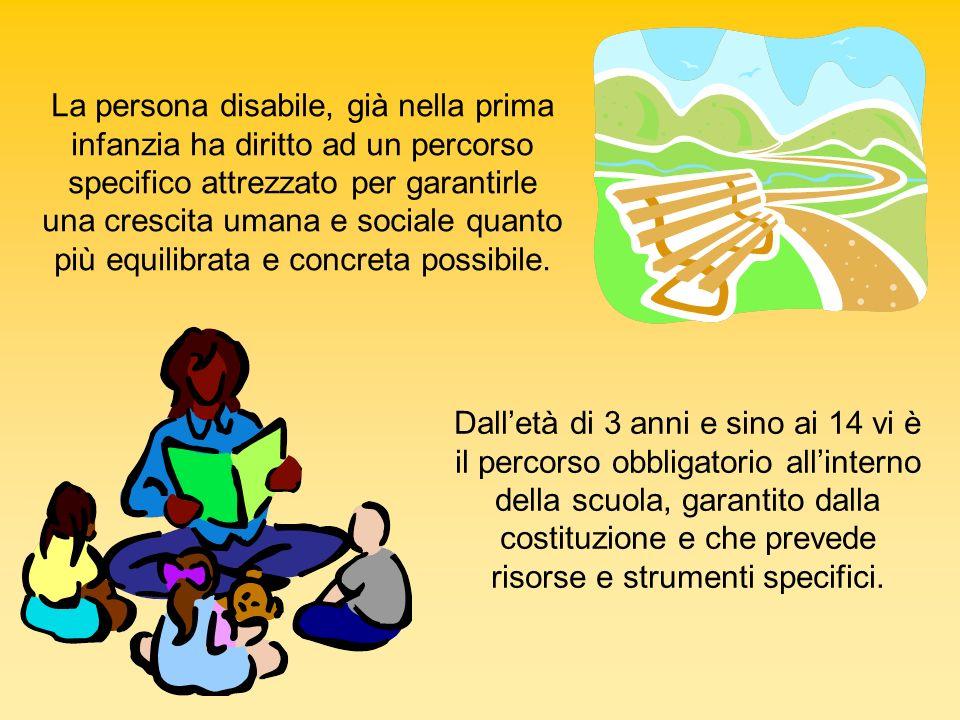 Dalletà di 3 anni e sino ai 14 vi è il percorso obbligatorio allinterno della scuola, garantito dalla costituzione e che prevede risorse e strumenti s