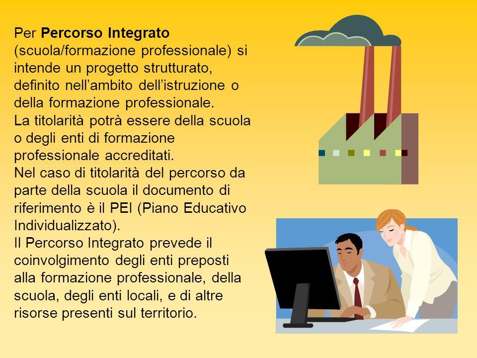 Per Percorso Integrato (scuola/formazione professionale) si intende un progetto strutturato, definito nellambito dellistruzione o della formazione pro