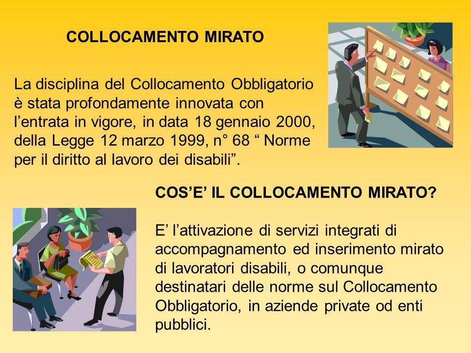 COLLOCAMENTO MIRATO La disciplina del Collocamento Obbligatorio è stata profondamente innovata con lentrata in vigore, in data 18 gennaio 2000, della
