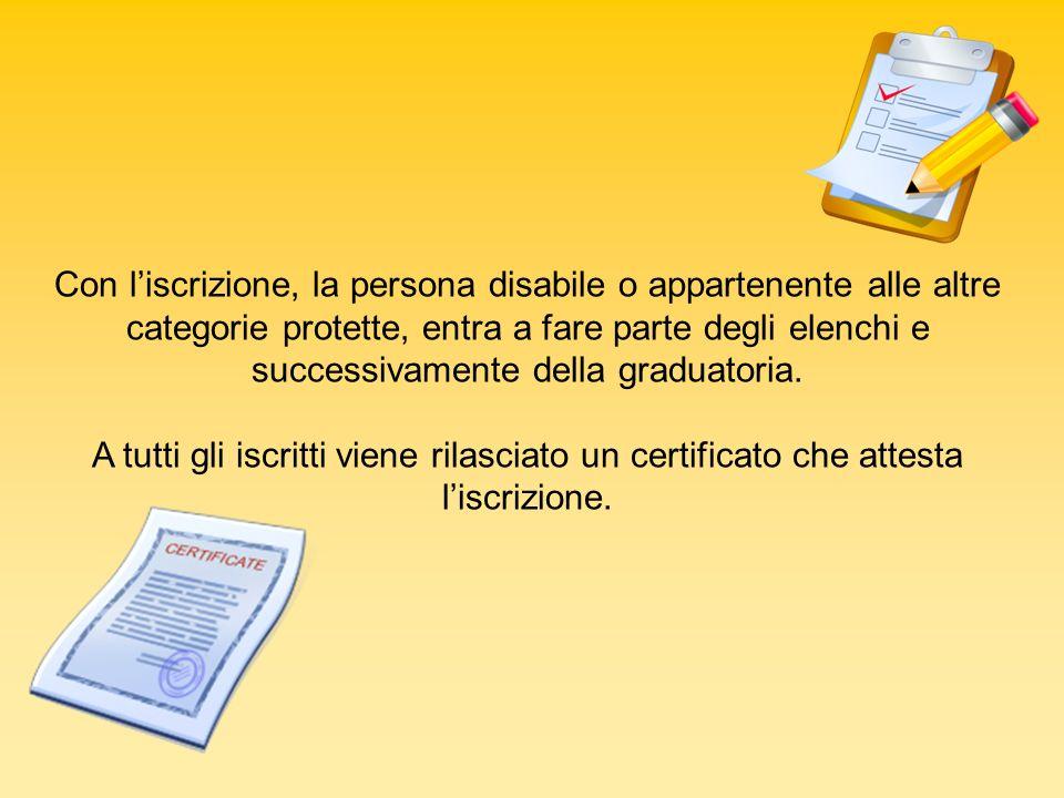Con liscrizione, la persona disabile o appartenente alle altre categorie protette, entra a fare parte degli elenchi e successivamente della graduatori