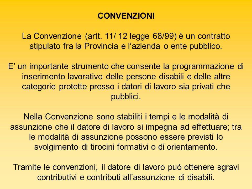CONVENZIONI La Convenzione (artt. 11/ 12 legge 68/99) è un contratto stipulato fra la Provincia e lazienda o ente pubblico. E un importante strumento