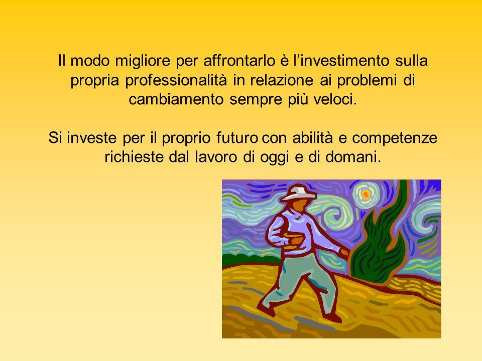 Il modo migliore per affrontarlo è linvestimento sulla propria professionalità in relazione ai problemi di cambiamento sempre più veloci. Si investe p