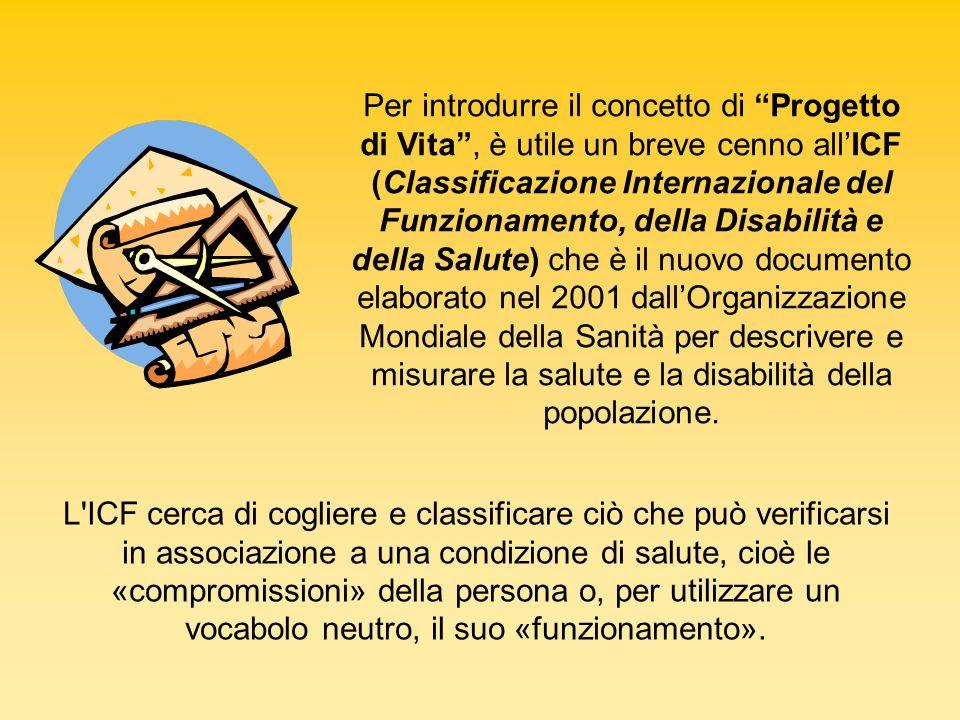 Per introdurre il concetto di Progetto di Vita, è utile un breve cenno allICF (Classificazione Internazionale del Funzionamento, della Disabilità e de