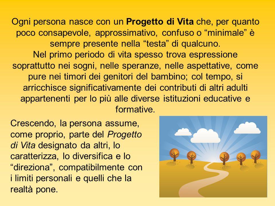 Crescendo, la persona assume, come proprio, parte del Progetto di Vita designato da altri, lo caratterizza, lo diversifica e lo direziona, compatibilm