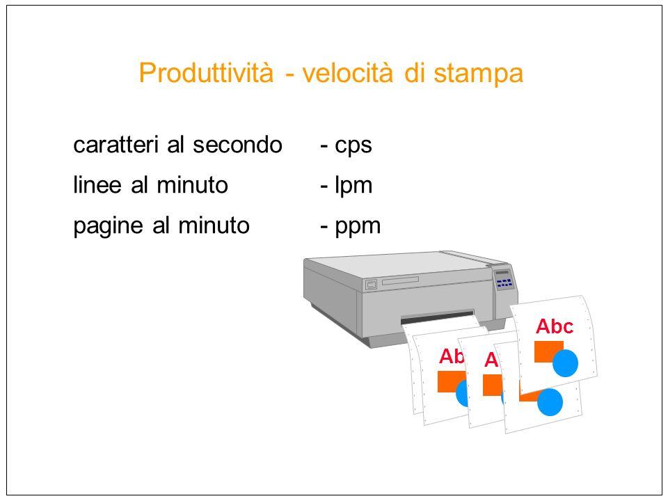 Produttività - velocità di stampa caratteri al secondo - cps linee al minuto - lpm pagine al minuto- ppm Abc