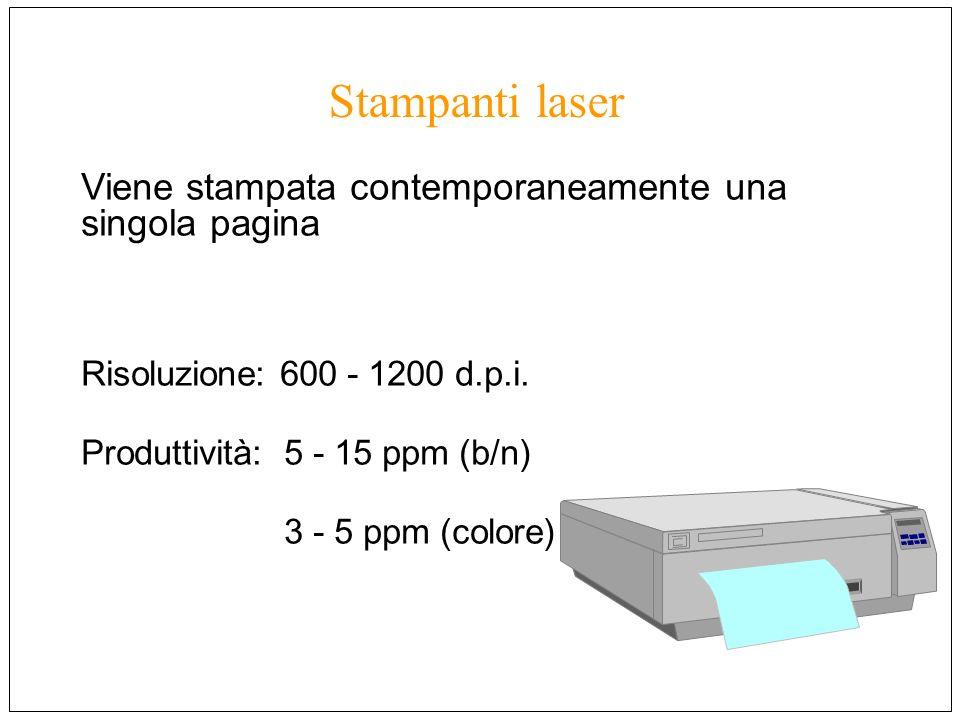 Viene stampata contemporaneamente una singola pagina Risoluzione: 600 - 1200 d.p.i. Produttività: 5 - 15 ppm (b/n) 3 - 5 ppm (colore) Stampanti laser