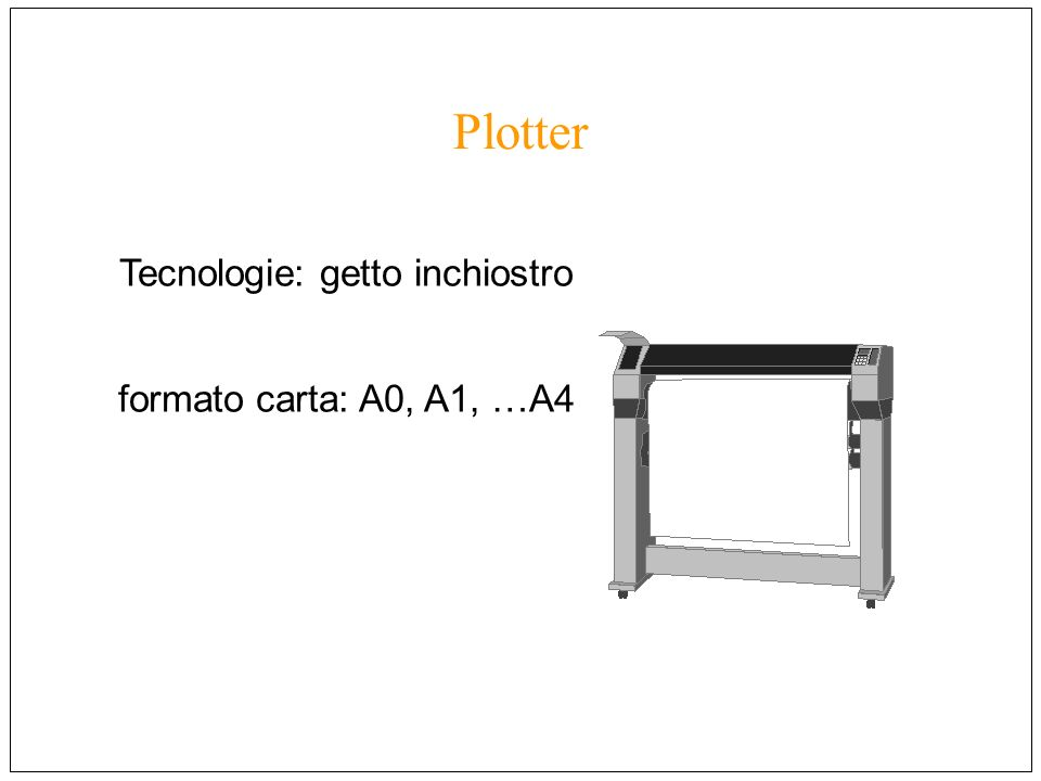 Plotter Tecnologie: getto inchiostro formato carta: A0, A1, …A4