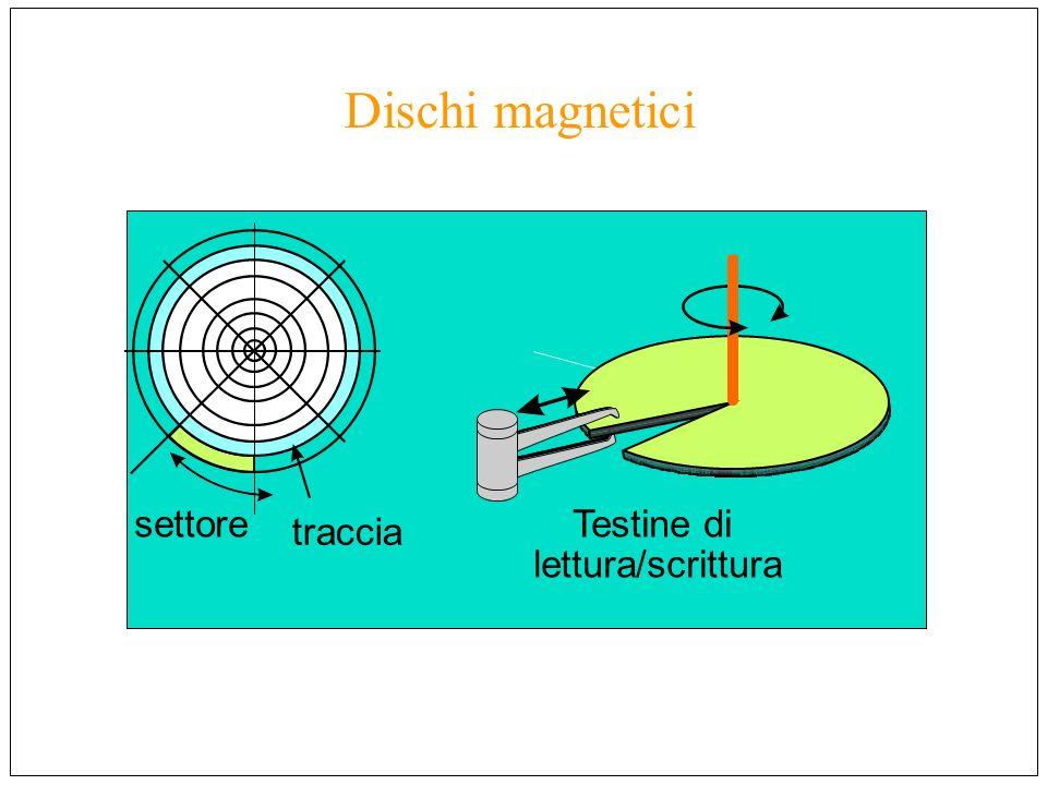 Dischi magnetici settore traccia Testine di lettura/scrittura