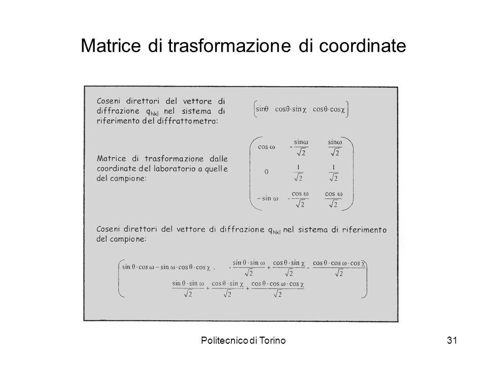 Politecnico di Torino31 Matrice di trasformazione di coordinate