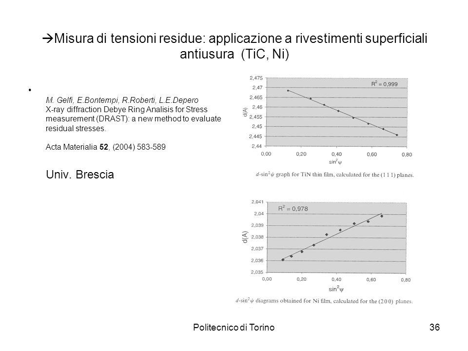Politecnico di Torino36 Misura di tensioni residue: applicazione a rivestimenti superficiali antiusura (TiC, Ni) M. Gelfi, E.Bontempi, R.Roberti, L.E.