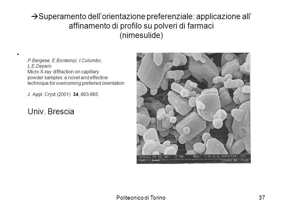Politecnico di Torino37 Superamento dellorientazione preferenziale: applicazione all affinamento di profilo su polveri di farmaci (nimesulide) P.Berge