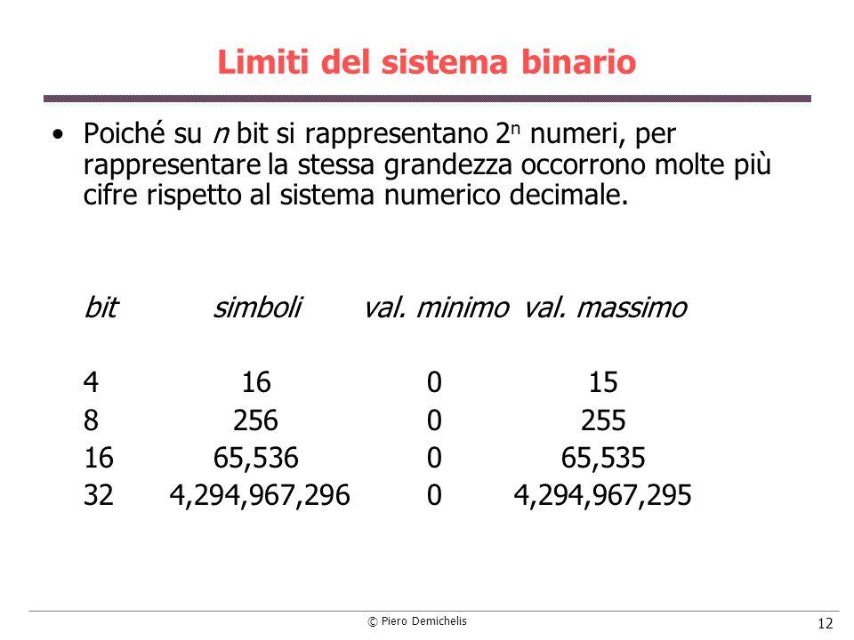 © Piero Demichelis 12 Limiti del sistema binario Poiché su n bit si rappresentano 2 n numeri, per rappresentare la stessa grandezza occorrono molte pi
