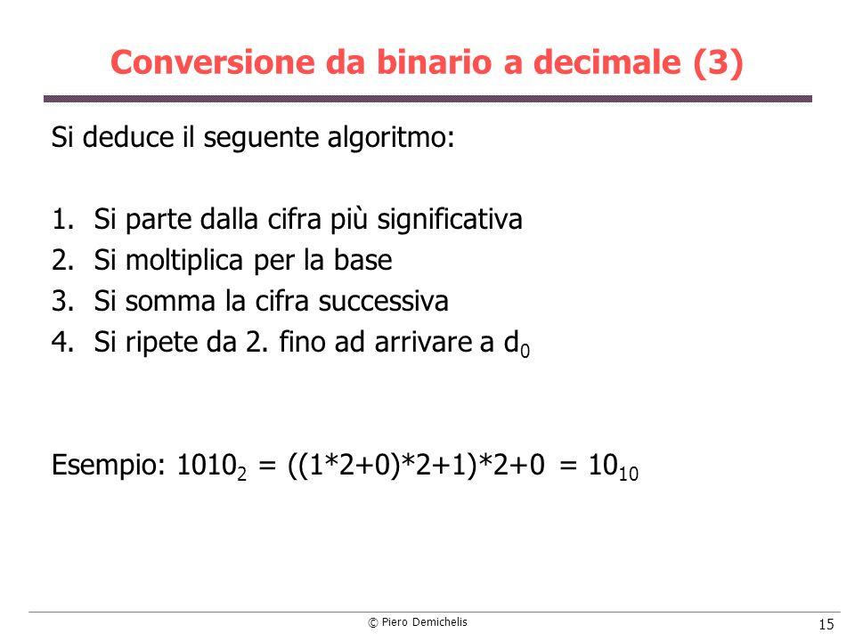 © Piero Demichelis 15 Conversione da binario a decimale (3) Si deduce il seguente algoritmo: 1.Si parte dalla cifra più significativa 2.Si moltiplica